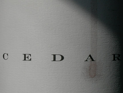 Cedar Wine Label close up image